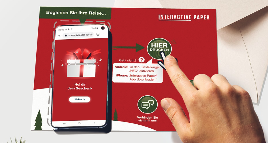 Interactive Paper Printwerbung mit Kundeninteraktion